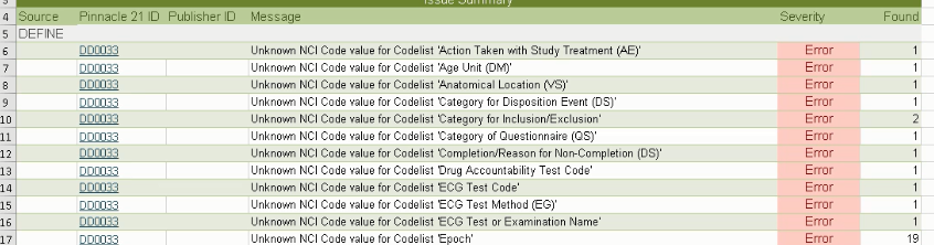 DD0033 - Unknown NCI Code value for Code List